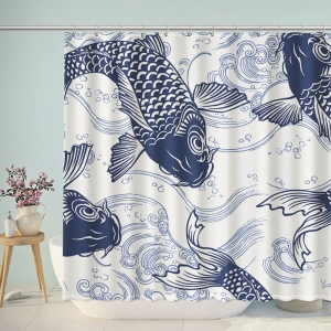 Blue Carp Sketch Shower Curtain