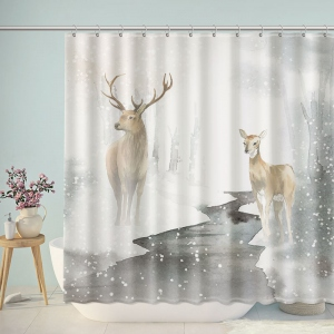 Watercolor Nordic Sika Deer Shower Curtain