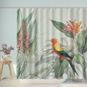 Vintage Parrot Floral Shower Curtain