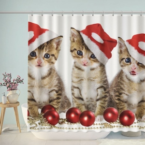 Cats Wear Christmas Hat Shower Curtain