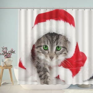 Cat Wear Hat Christmas Shower Curtain