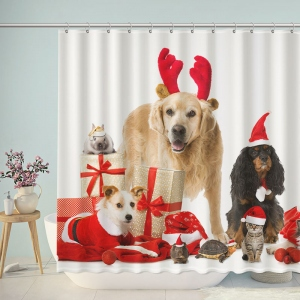 Animals Christmas Decorative Shower Curtain