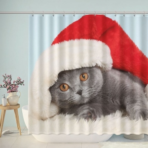Cute Cat Christmas Shower Curtain