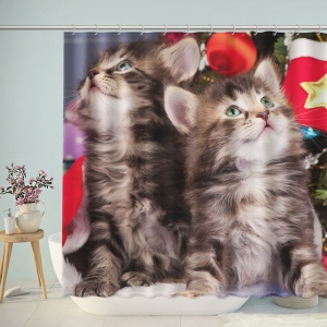 Cute Cats Merry Christmas Shower Curtain