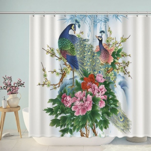 Hand drawn Peacock Flowers Shower Curtain