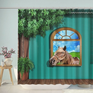 Horse Through Window Wall Shower Curtain