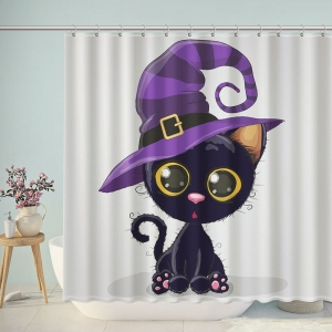 Black Cat Halloween Bathroom Shower Curtain