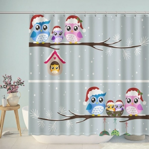 Cute Owl Family Christmas Shower Curtain