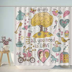 Be Happy All You Need Is Love Shower Curtain