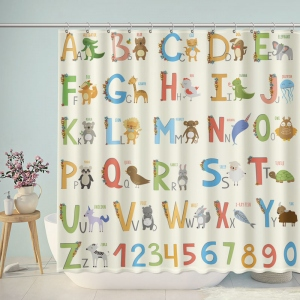 Cute Cartoon Illustrated Alphabet with Funny Animals Shower Curtain
