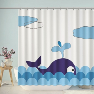 Cute Whale Illustration Shower Curtain