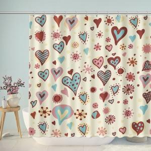 Vintage Love Hearts Valentine Shower Curtain