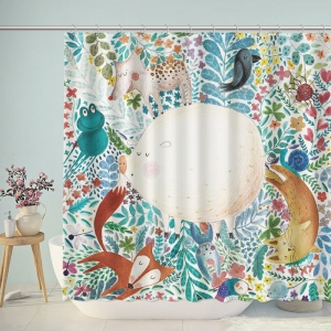 Cute Animals Illustration Drawing Shower Curtain