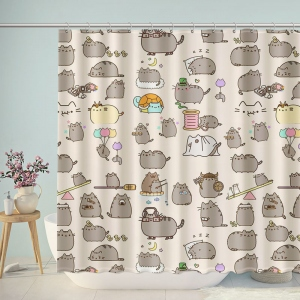 Lovely Hipster Cartoon Cats Mouse Shower Curtain