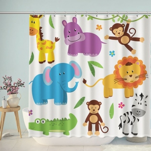 Jungle Animals Clipart Shower Curtain
