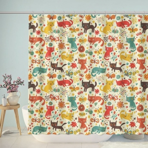 Cute Cats Butterfly Patterns Shower Curtain