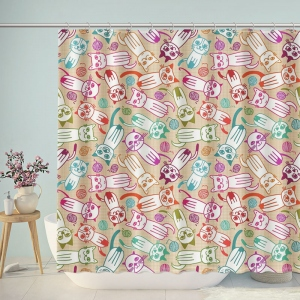 Childish Cats Patterns Print Shower Curtain