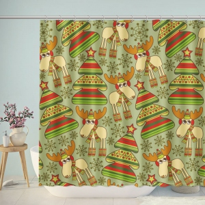 Cute Christmas Deer And Trees Shower Curtain