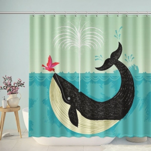 Whale And Bird Illustration Shower Curtain