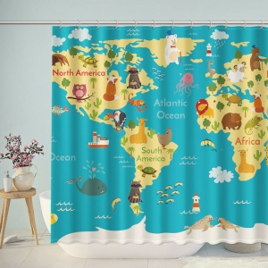 Cute Animals World Map Illustration Shower Curtain