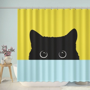 Shy Cat Illustration Shower Curtain