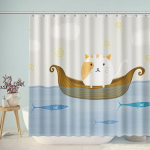 Cat and Fish Shower Curtain