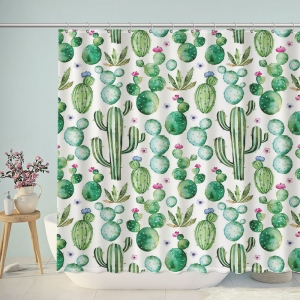 Watercolor Plant Cactus Patterns Shower Curtain