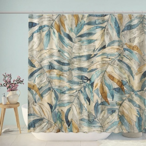 Vintage America Watercolor Leaves Shower Curtain