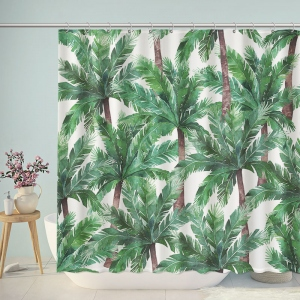 Gouache Painted Green Trees Shower Curtain