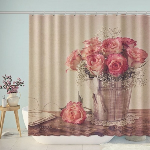 Vintage Rose Flower Basket Shower Curtain