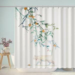 Hand Painted Cat Under Fruit Tree Shower Curtain