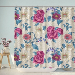 Vintage Floral Print Shower Curtain