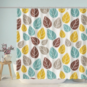 Vintage Leaves Pattern Print Shower Curtain