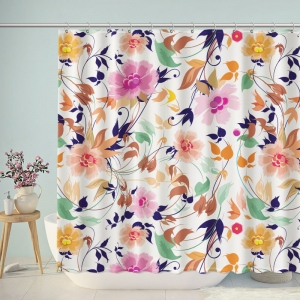 Gouache Painted Flowers Print Shower Curtain