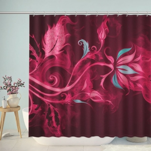 Beautiful Red Abstract Flowers Shower Curtain