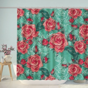 Vintage Love Rose Print Shower Curtain