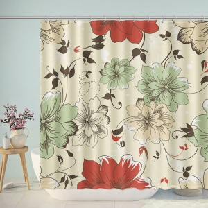 Flower Pattern Spanish Style Shower Curtain