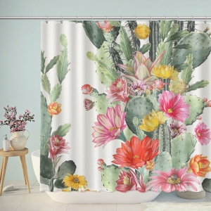 Desert Plant with Spiny Flower Watercolor Shower Curtain