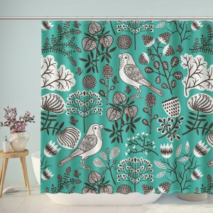 Doodle Flowers Birds Illustration Shower Curtain