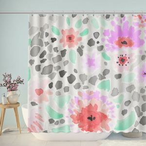 Pastel Art Print Flower Shower Curtain