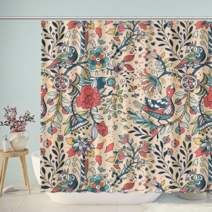 Cute Birds and Flowers Print Shower Curtain