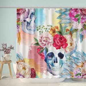 Gouache Skull Floral Painted Shower Curtain