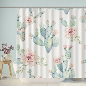 Hand Drawn Watercolor Cactus Shower Curtain