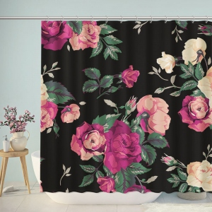 Black Love Rose Floral Shower Curtain