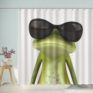 Funny Frog Wear Sunglasses Shower Curtain