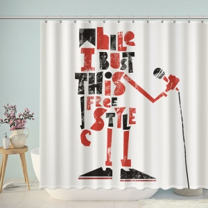 Singer Painting Calligraphy in English Shower Curtain