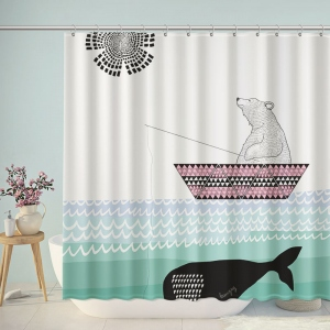 Cartoon Polar Bear Fishing Whale Shower Curtain
