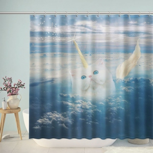 Unicorn Cat In The Clouds Shower Curtain