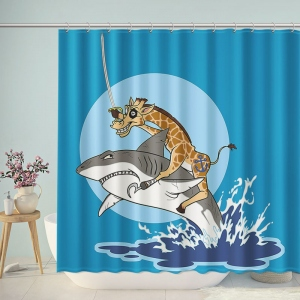 Pirate Giraffe Riding A Shark Shower Curtain