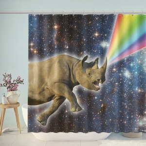 Sharp Rhinos in Space Shower Curtain